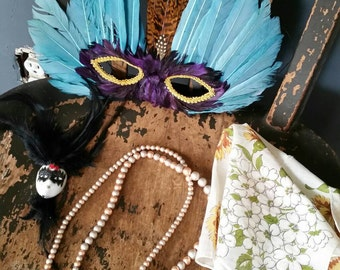 Mardi Gras Feather Mask/New Orleans Mardi Gras/Adult Mask/Vintage Ladies Handkerchief/Beads/Small Ceramic Masquerade Face/Crafting Project