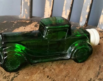 Bonnie and Clyde Car/Avon Aftershave Green Glass Bottle/Vintage 1970s/Collectible Bottle/Man Cave Decor/Bookend/Paperweight/Bar Decor