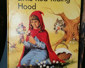 Vintage 1984 Little Red Riding Hood/Now I Can Read Large Type for First Readers/Childrens Books/Storybook/Bedtime Stories/Nursery Decor