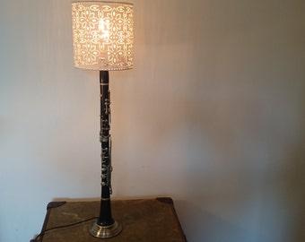 Repurposed clarinet table lamp