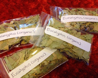 Organic Eucalyptus Leaves 1/4 oz Used for Making Oils,  Repelling negativity, cleansing space  Pagan Wicca Wiccan Magick Altar