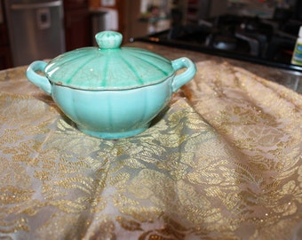 W.S George Petalware Antique  Light Green/Blue Litte Candy Dish/ Sugar Bowl With Top.