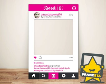 Sweet 16 Photo Booth Props Instagram (Digital File) 16th Birthday Party