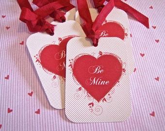 Valentine Tags-Be Mine-Set of 6