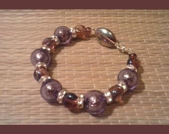 Big Purple Baubles Bracelet - Amethyst Bead Bracelet - Mixed Purple Crystal Bead Bracelet