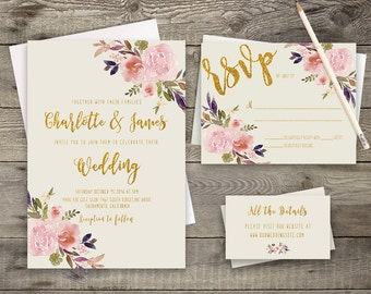 Boho Chic Invite, Rustic Wedding Suite, Bohemian Invitation,  Rustic RSVP Card, Peony Invitation, Invitation Printable, DIY Invitation Suite