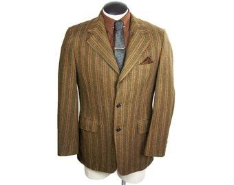 Mens Vintage 1960s Striped Wool Three Button Blazer PBM Clothes 40/41