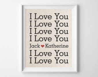 I Love You | Personalized Names With Heart Cotton Print | Wedding Anniversary Gift for Husband Wife | Girlfriend Boyfriend Gift | Valentine