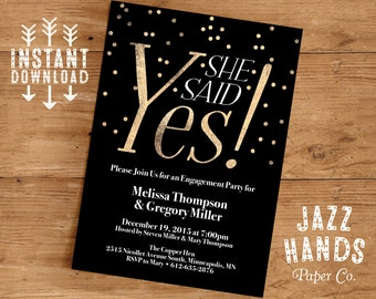 Printable Engagement Party Invitation Template | DIY | Engagement Party Invites | Confetti | Gold and Black | She Said Yes | Wedding