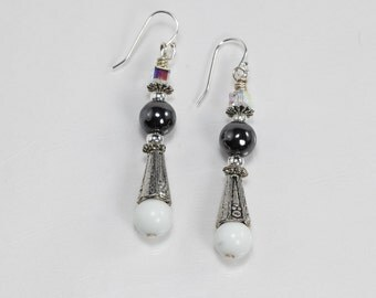 Metallic Silver and White Earrings, Sterling Silver Swarovski Crystal Earrings, Hematite Earrings