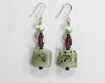 Sterling Silver Green Freshwater Pearls and Purple Earrings
