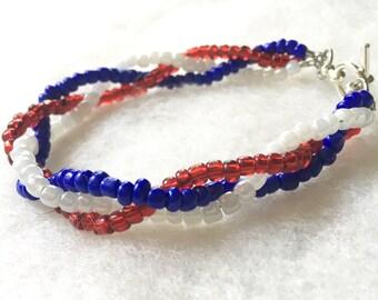 Red, White & Blue Beaded Bracelet