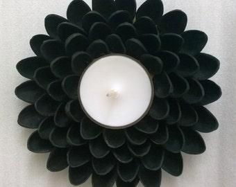 Cute Tealight Candle Holder - Pistachio Shell Flower - Black