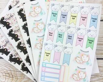 Pregnancy Planner Stickers-- pregnancy tracker stickers- pregnancy stickers