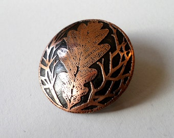 Copper Oak Leaf Brooch