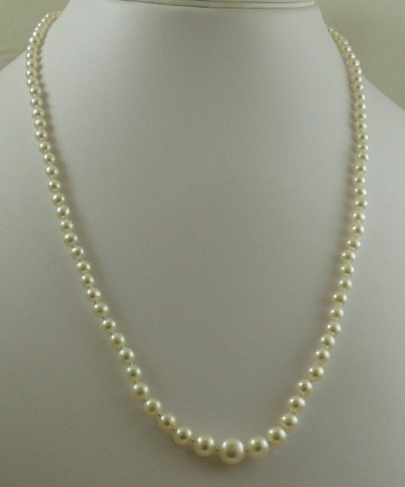Freshwater 3mm - 7mm White Pearl Graduated Necklace 14k Yellow Gold Fish Lock