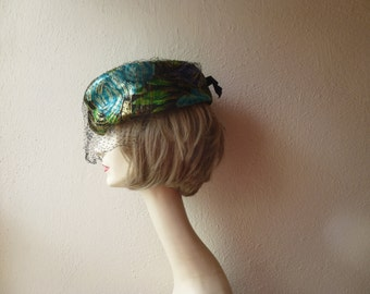 Vintage 50s 60s Floral Brocade Veil Formal Pillbox Hat Black Blue Green Flower Golden Thread Ribbon Bow Elegant Rockabilly Wedding Glam Garb