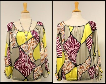New Abstarct Print with Smart Sleeves Regular size Top Boho , HipHop, Travel,Beach.Only One Available.
