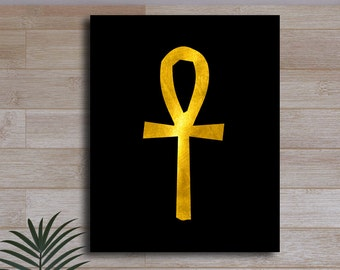 Ankh Egyptian Hieroglyphic Gold Black Print Ancient Septre of the Pharaoh Symbol Home Wall Decor Printable Digital Art / Instant Download