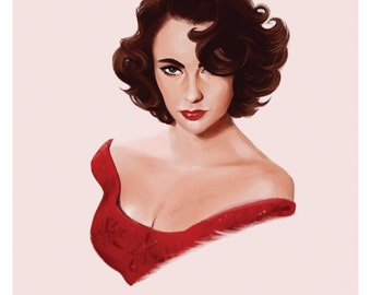 "Art Print: Elizabeth Taylor ""Come to Mama"" Hollywood Actress, Digital Painting - High Quality A3 Print 250gsm - 10% of sales to charity ETAF"