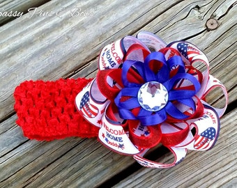Weclome Home Daddy Flower Hair Bow