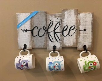 Coffee Sign, Hand painted, Rustic Wood Sign, Distressed Sign, Home Wall Decor, Wood Stain Sign