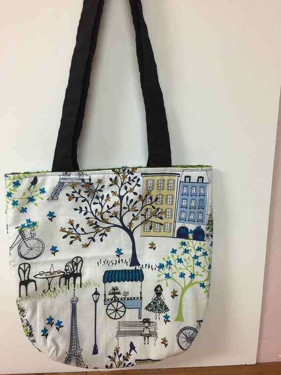 items similar to paris themed blue cotton handbag tote bag on etsy. Black Bedroom Furniture Sets. Home Design Ideas