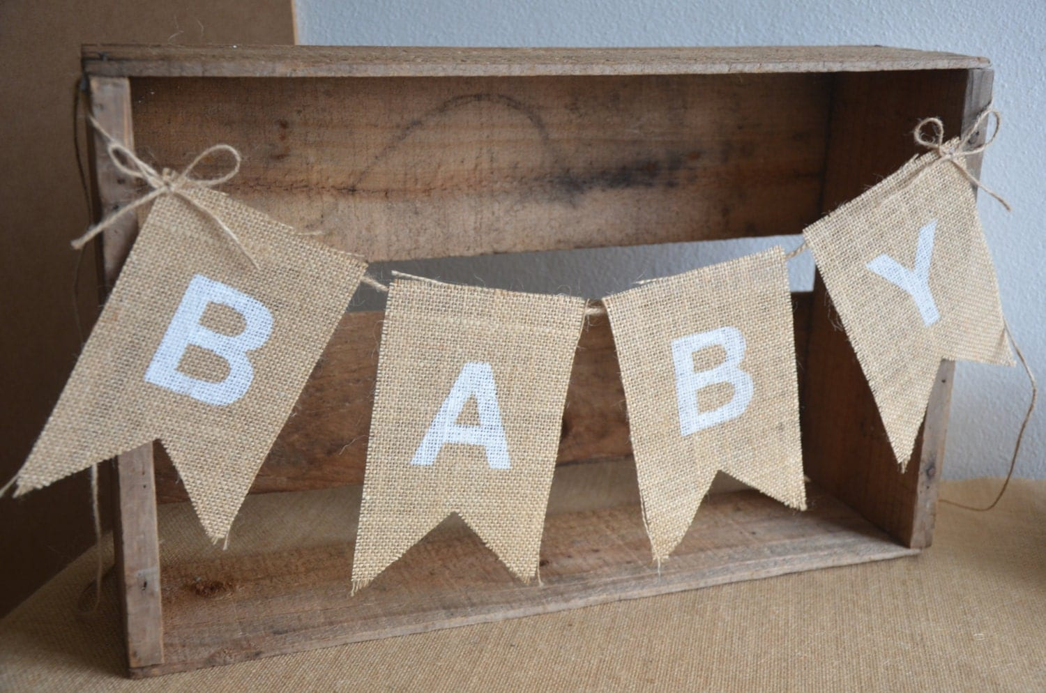 rustic burlap baby bunting baby shower decoration