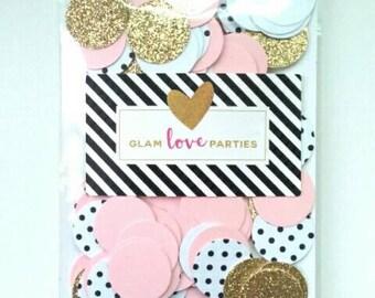 150 GOLD ,  white black dots and, blush pink confetti - baby shower - wedding decor