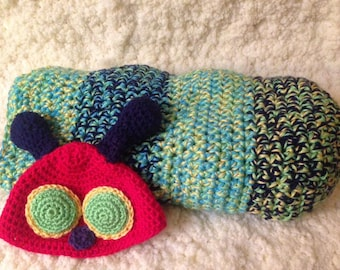 Caterpillar Cocoon- Crochet Baby Cocoon- Caterpillar Photo Prop (Ready to Ship)