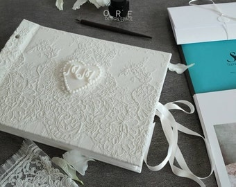 Luxury Guest Book | With Pockets Wedding Guest Book | Bride Shower Gift | Wedding Lace | Free Shipping From OreDesignSpace