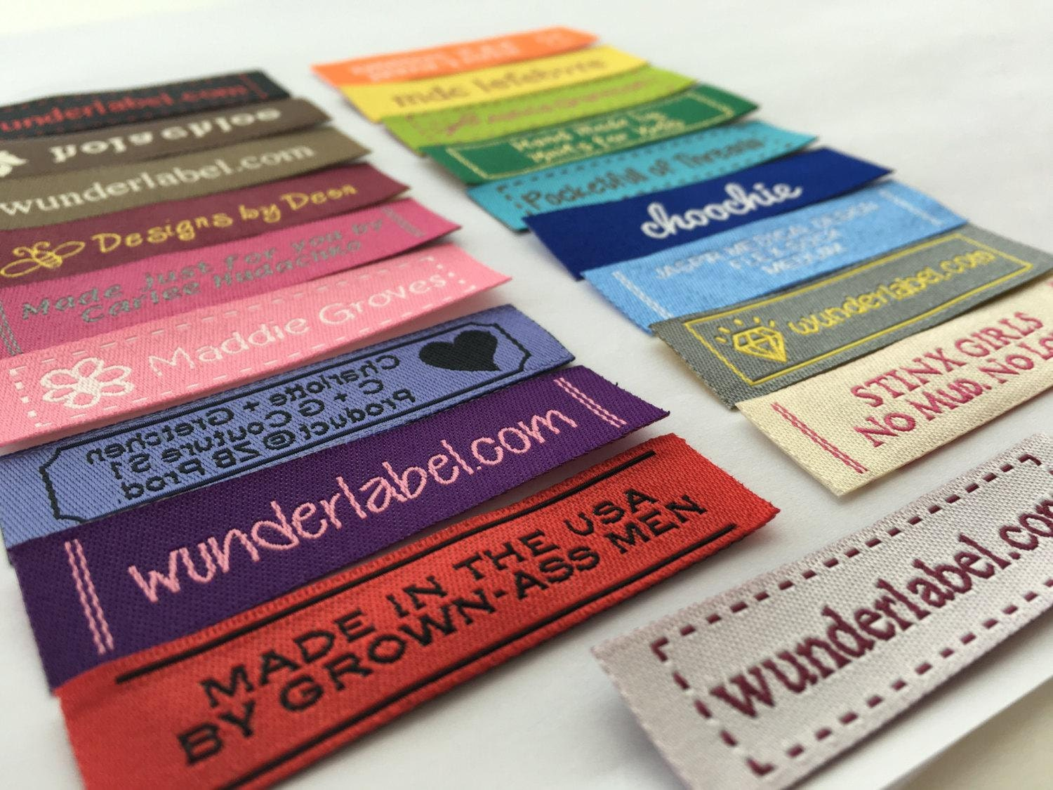 Labels: Fabric Tag Labels Woven Frame Text & Symbol Only 20 USD