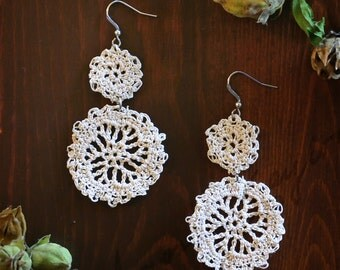 Café Hand Crocheted Dangle Earrings in Natural