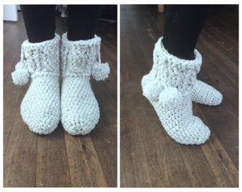 Thick And Warm Winter Crochet Slipper Bootie Socks