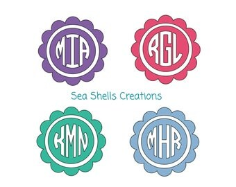 Scallop Monogram Decal #5, Circle Scallop Monogram Decal