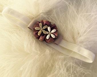 "Newborn ""Orianna"" Diamanté Daisy Headband"