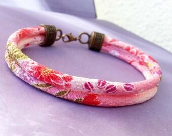Wrap Bracelet Japanese Kimono Chirimen Cord Pink Soft Fabric Bohemian Jewellery Wrapped Bracelet Boho Gift for her