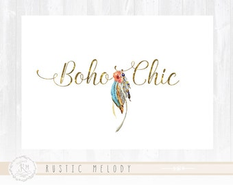 Boho Chic Logo Feather Logo Photography Logo Design Boutique Logo Watercolor Logo Decor Logo Design Watermark