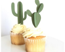 Cactus Cupcake Toppers 3D (set of 12)
