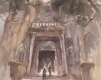 PEACE - original watercolor painting 12x9, landscape, church