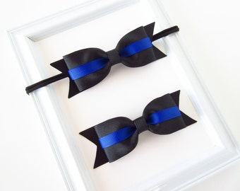 Thin blue line hair bow or headband, baby toddler girls black and blue hair bow or headband, police and law enforcement recognition bow
