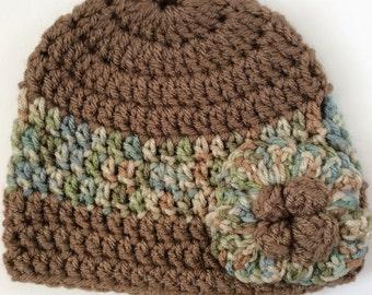 Brown baby girl crochet beanie hat
