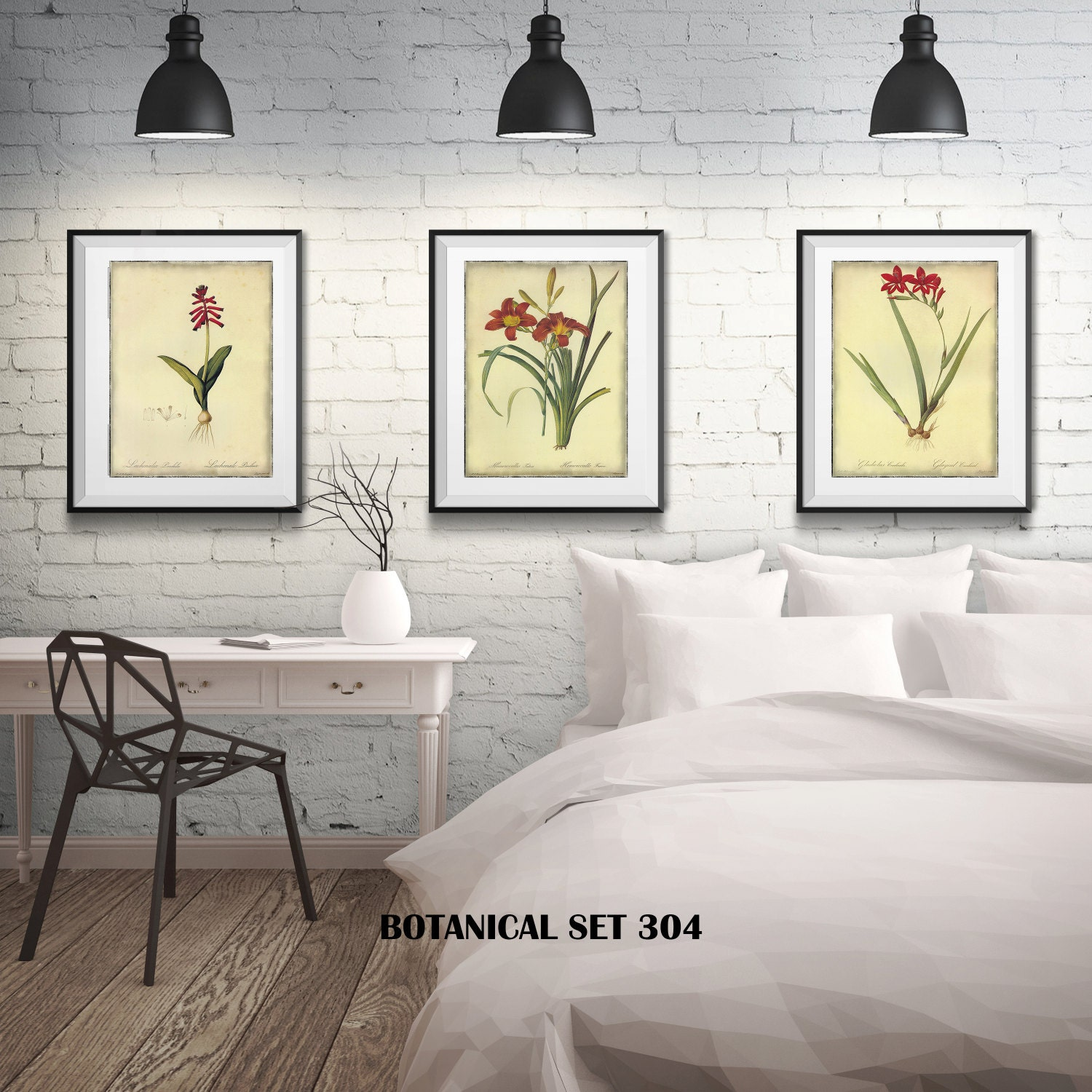 3 Botanical Prints Matted And Framed Free Shipping