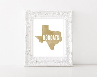 Texas State University Bobcats Watercolor State Printable (8x10 & 5x7)