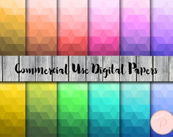 Geometric Pattern Digital Papers, Pastel, Rainbow, Colorful, Commercial Use, Abstract Scrapbook Digital Papers, Digital Background, DP123