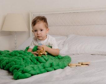 Chunky Baby blanket, Merino wool baby blanket, Extra soft 18 microns Merino wool, 24x32 inches