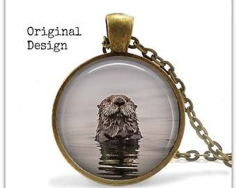 Sea Otter Jewelry Sea Otter Necklace Animal Jewelry Animal Pendant Necklace Nature Jewelry Nature Necklace Nature Lover Gift   005