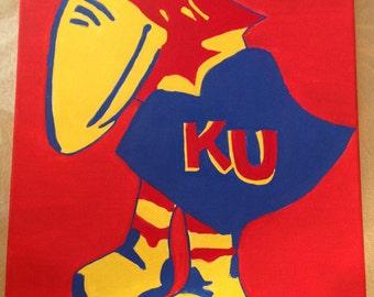 Kansas Jayhawk Painting, Custom-made, Hand-painted, 1923 Jayhawk