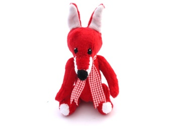 Fox. Stuffed toy fox. Plush fox toy. Handmade stuffed fox. Cuddly Fox. Exclusively Handmade