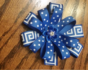 Hairbow, blue and white (alligator clip)